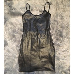 Black PU Strappy Backless Bodycon Dress